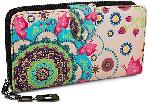 styleBREAKER portafogli con fiori e etnici e design colorato, design vintage, chiusura con cerniera, portamonete, donna 02040040, colore:Rosa-Turchese-Verde-Rosa