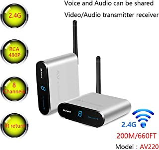 MEASY Wireless AV Sender Transmitter and Receivers Audio Video AV220 2.4GHz up to 200M / 660FT, Plug and Play, Wirelessly ...