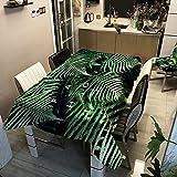 Yqgdss Hojas Y Patrones Alfabéticos Mantel 3D Cubierta De Mesa De Comedor De Poliéster Impermeable Y A Prueba De Polvo Utilizada para Cenas Al Aire Libre Cocina Jardín De Vacaciones 140x180cm