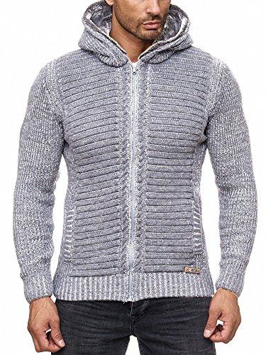 Reslad Herren Strickjacke warme Kapuzenjacke Fell-Kapuze Winter-Jacke RS-18002 Grau M