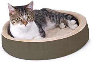 K & H Pet Thermo Kitty Cuddle Up Heated Bed, Mocha