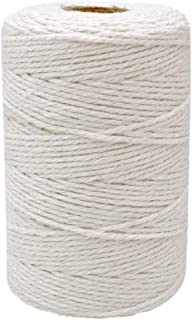 200M (218 Yard) 12-Ply Cotton Twine String,Cooking Kitchen Twine String Craft String Baker Twine for Tying Homemade Meat,Making Sausage,DIY Craft and Gardening Applications (Natural White)