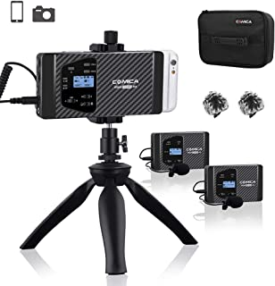 comica CVM-WS60 Combo Wireless Dual Lavalier Lapel Microphone System with UHF 12 Channels, Universal Smartphone Clamp,100-194ft Wireless Range,Wireless Microphone for Smartphones and Cameras (2Tx+1Rx)