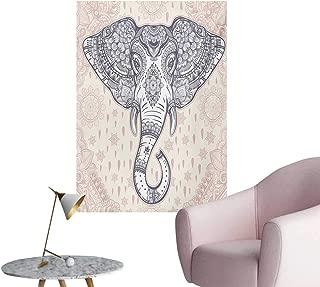 Unpremoon Elephant Mandala Wallpaper Bohemian Elephant Paisley Vintage Ethnic Design Animal PrintPale Pink and Purple W32 xL48 Funny Poster