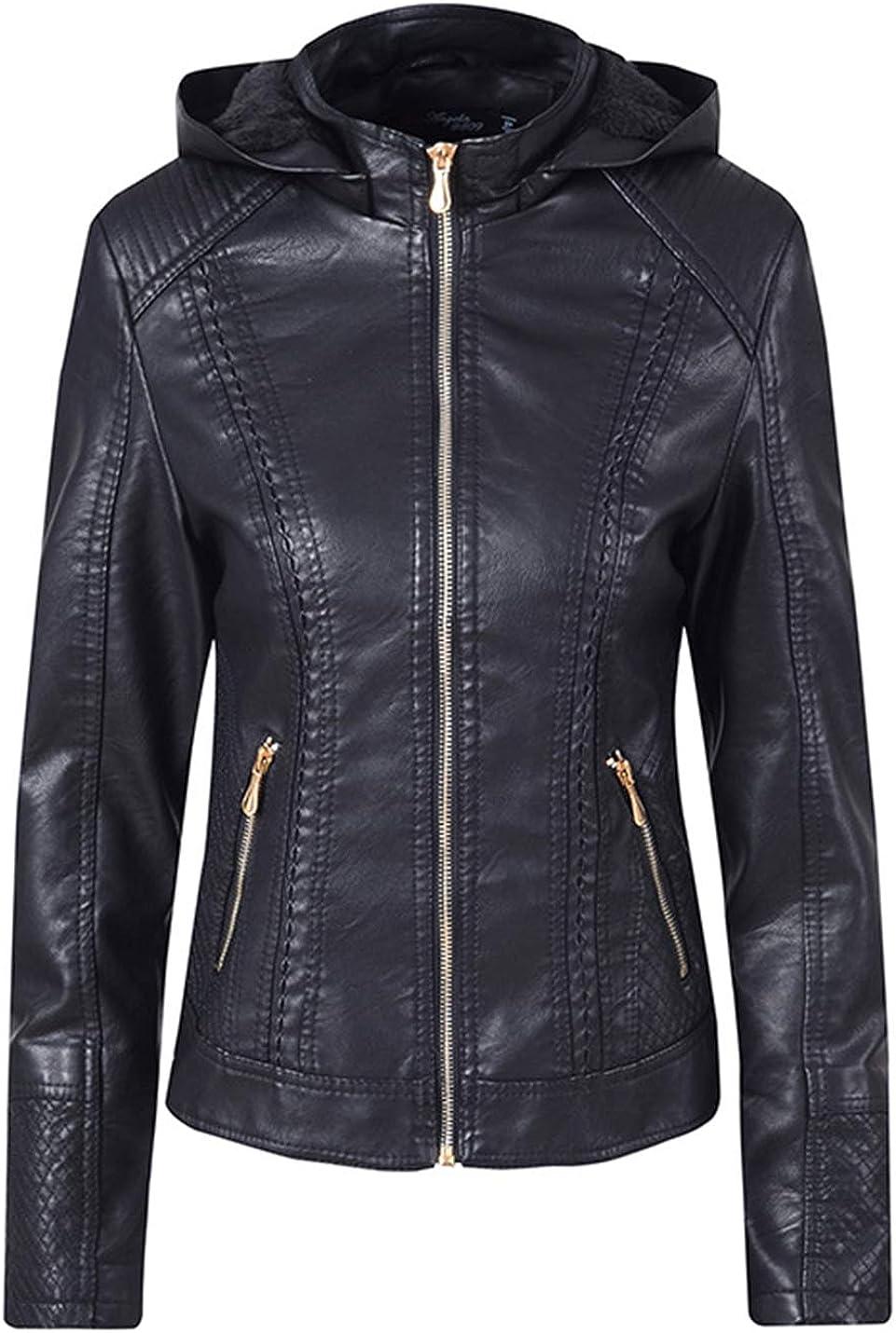 PAODIKUAI Women's Basic Fleece Lined Warm Zip Up Detachable Hood Faux Pu Leather Moto Biker Jacket