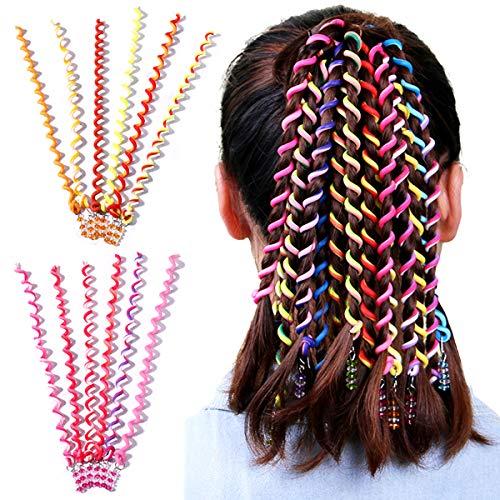 BingYouMi, 12 piezas, conjunto de accesorios para el cabello para niñas, accesorios para el cabello giratorios, diadema trenzada de diamantes de imitación, diseño DIY, peinado de fiesta para niños