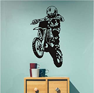 Wangjru 58Cm X 106Cm Wall Stickers Motocross Silhouette Motorcycle Enthusiasts Home Decor Poster Vinyl Adhesive Diy Remova...