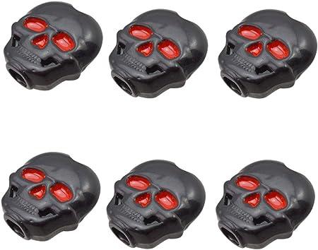 ペグ 骷髅パータン ボタン / 全3色 6個セット 骷髅パータン ボタン クラシックギター チューニング チューナーボタン - 黒, 説明したように