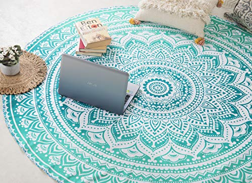 Popular Handicrafts Round Roundie Indian Mandala Round Roundie Beach Throw Picnic Tapestry Hippy Boho Gypsy Cotton Table Cover Beach Tapestry, Round 70'