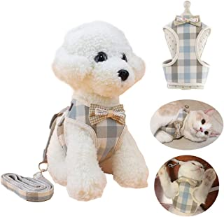 WANONEE Cat Harness Vest Rope with Leash, Comfortable Adjustable Easy to Put On & Take Off Cat Walking Jacket with Cute Bows for Puppy Small Animal