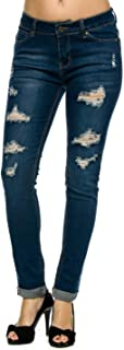 Wax Cera Denim Juniors Distressed de la Mujer Slim Fit - Elástico Skinny Jeans