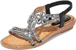 Tomwell Sandales Femmes Plates Chaussures Été Semelle Compensées Bride Cheville Strass Nu Pieds à Talons Plats Claquettes ...