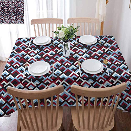 ScottDecor Abstract Indoor Outdoor Tablecloths Geometric Triangle Shaped Modern Figures in Gradient Tones Image Ruby Maroon Pale Blue White for Spring/Summer/Party/Picnic (Rectangular) 60x84