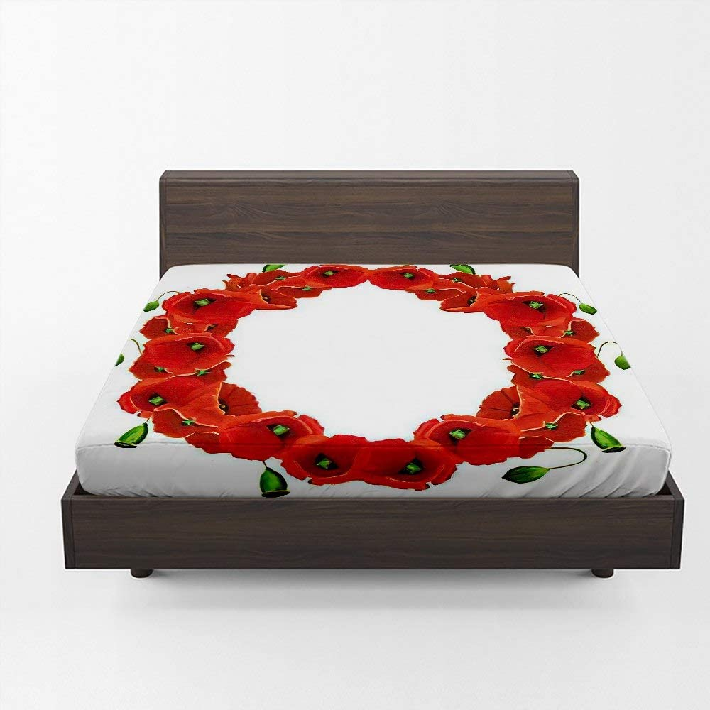 depot Aopaka Red Poppy Queen Fitted Sheet Wr Max 83% OFF Deep 12 Only Inch Pocket