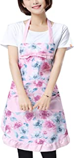 Fashion and Practical Apron (Suitable for Kitchen,Cafe,Working Shop) with Unique Pattern and Colour (Adult, Pink(Flower))