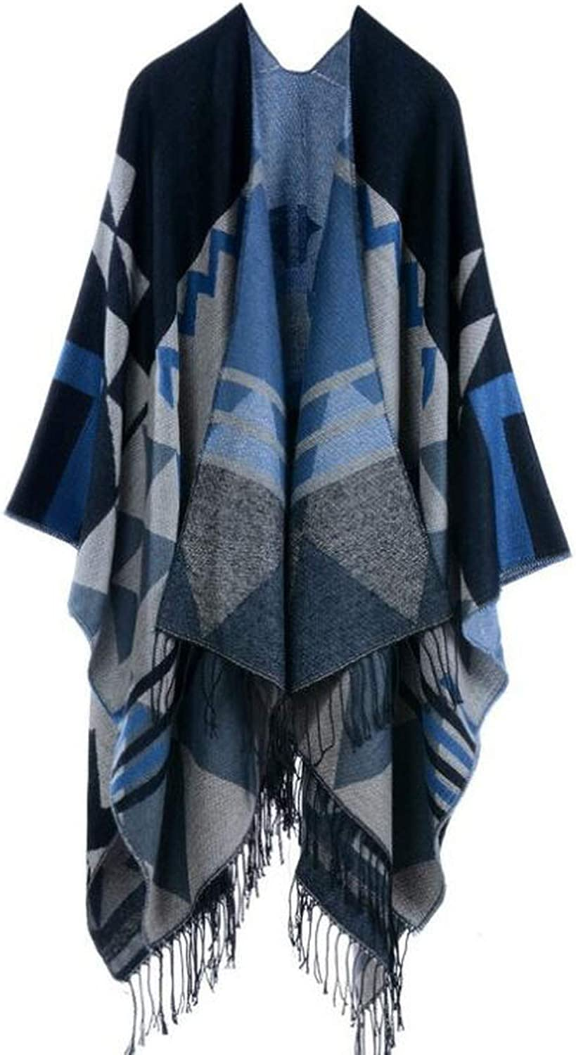 Women Vintage Pattern Tassel Poncho Shawl Cape Cardigan Retro Capes For Women,bluee,One Size