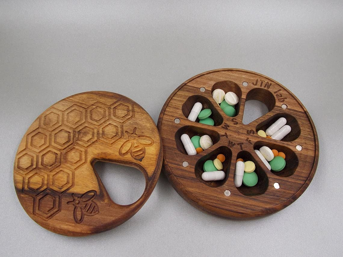 Wooden Pill Lowest price challenge Box Cheap sale 7 Day Travel Decorative O Weekly Nature