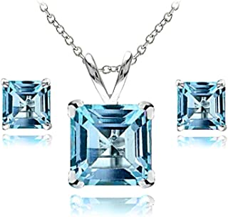 Sterling Silver London or Swiss Blue Topaz Square Solitaire Necklace and Stud Earrings Set