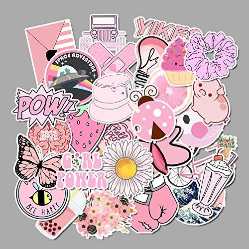 HENJIA 50 Pezzi VSCO Rosa Vento Piccolo Adesivo Valigia Fresca Impermeabile Graffiti Valigia Adesivi Decorativi Notebook