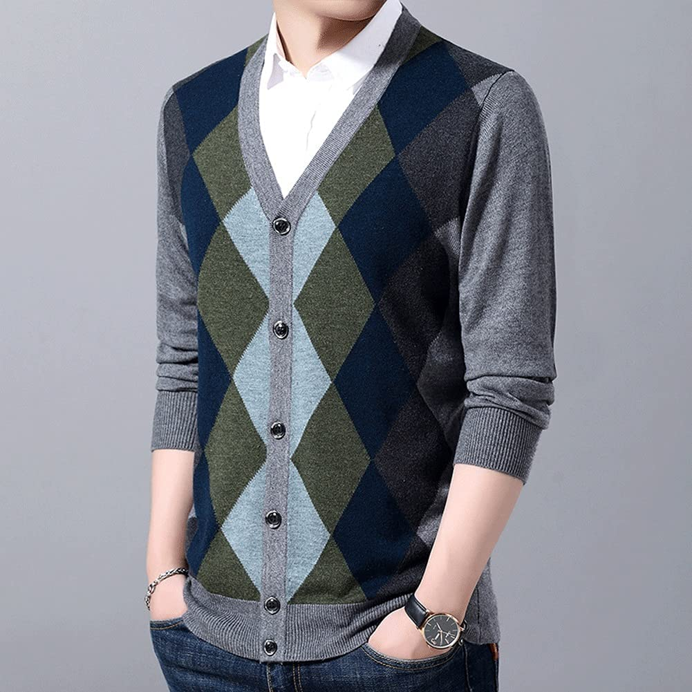 GYZCZX 6% Wool Sweaters Mens Cardigan Jumpers Knit Autumn Slim Fit Patterns Slim Fit Casual Men Clothes (Size : XL Code, Style : Style Two)
