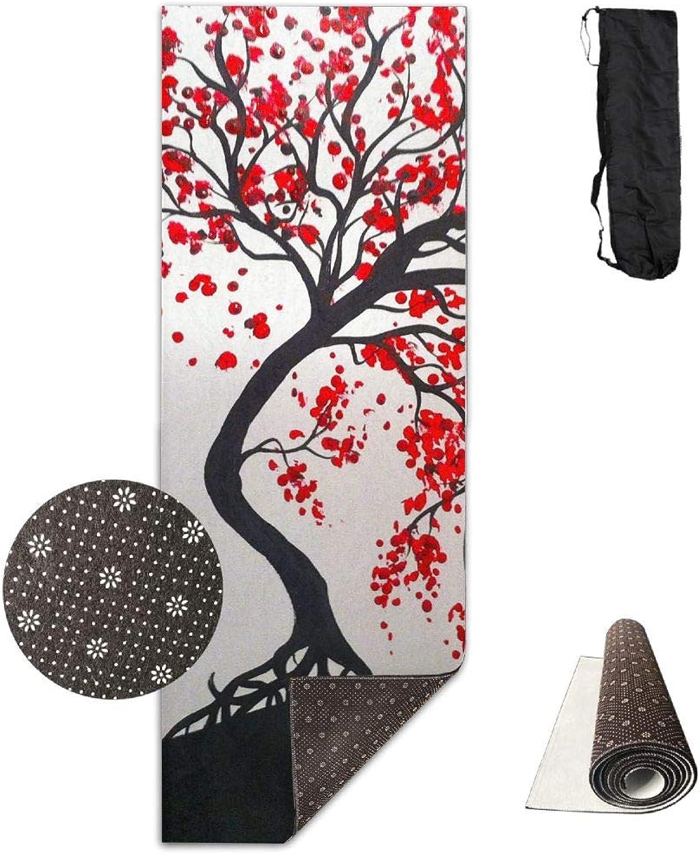 Yoga Mat Non Slip 24  X 71  Exercise Mats Painting Tree Premium Fitness Pilates Carrying Strap