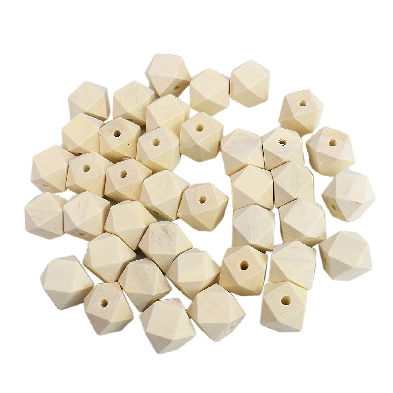 Monrocco 50Pcs 20mm Geometric Wood Beads Natural Polygon Wood Beads Faceted Unpainted Wooden Spacer Beads with 3.5mm Hole