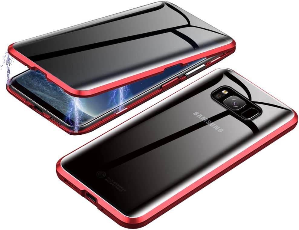 Anti-Spy Case for Samsung Galaxy S8 Plus, Jonwelsy 360 Degree Front and Back Privacy Tempered Glass Cover, Anti Peeping Screen, Magnetic Adsorption Metal Bumper for Samsung Galaxy S8+ (Red)