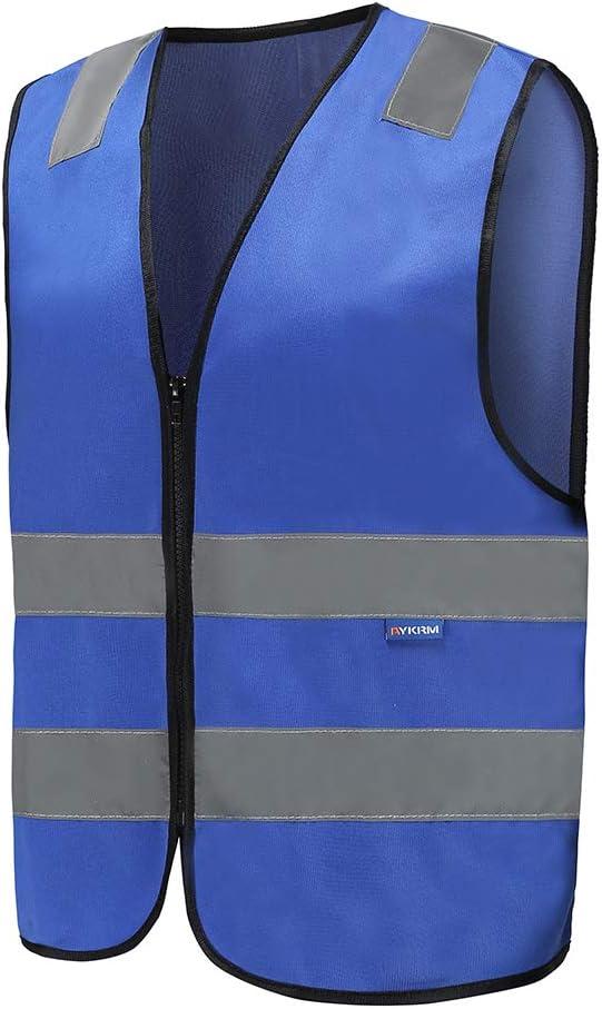 Mehrere Farben Unisex Hochsichtbare Warnweste Hohe Sichtbarkeit Warnweste Reflektierende Weste Reißverschluss Sicherheitswesten En Iso 20471 L Blau Baumarkt