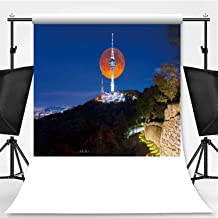 Super Full Moon with Seoul Tower Photography Background,100255 for Photography,Pictorial Cloth:5x7ft