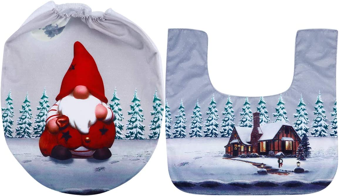 ABOOFAN Manufacturer regenerated product 1 Set Christmas Elements Pads Toilet Cover Seat Special sale item C