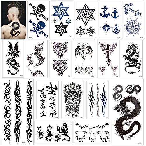 Temporary Tattoo for Adults Kids Women Men (18 Sheets), Konsait Temporary Tattoo Stickers Paper Kit Fake Tattoo Body Sticker Cover Up Set,Dragon Eye Heartbeat Tiger Vine Scorpion Graphic Skull