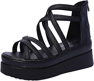 Women Fashion Summer Sandals Round Toe Cross Strap Muffin Bottom Non-Slip Platform Shoes Flip-Flop