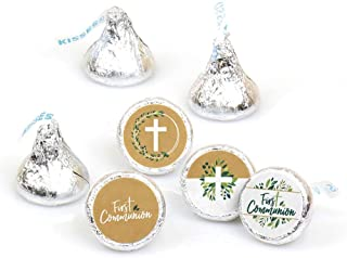 First Communion Elegant Cross - Religious Party Round Candy Sticker Favors - Labels Fit Hershey's Kisses (1 Sheet of 108)