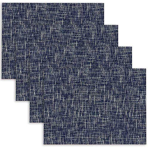 silichee Place Mats, Placemats for Kitchen Table Set of 4 Abstract Fabric Placemats Heat Resistant Washable Outdoor Placemats Easy Clean Placemats(18X12 Inches Blue)