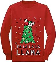 FA La La Llama Ugly Christmas Sweater Funny Xmas Youth Kids Long Sleeve T-Shirt