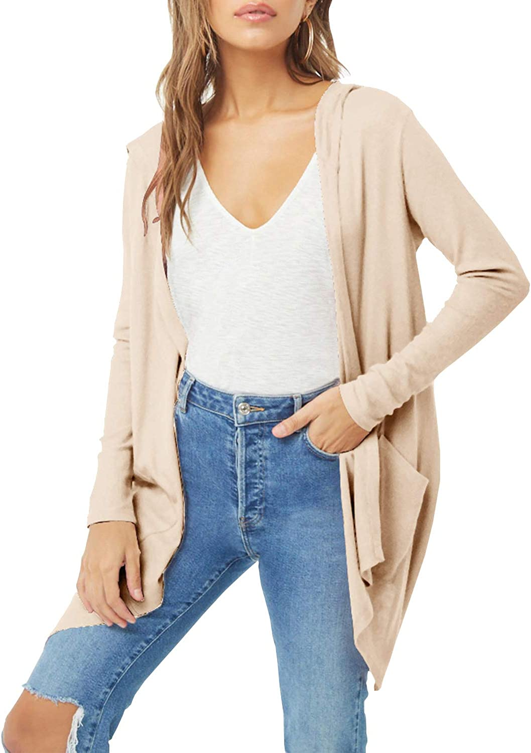 ChainJoy Womens Draped Long Sleeve Open Front Hooded Cardigan with Pockets