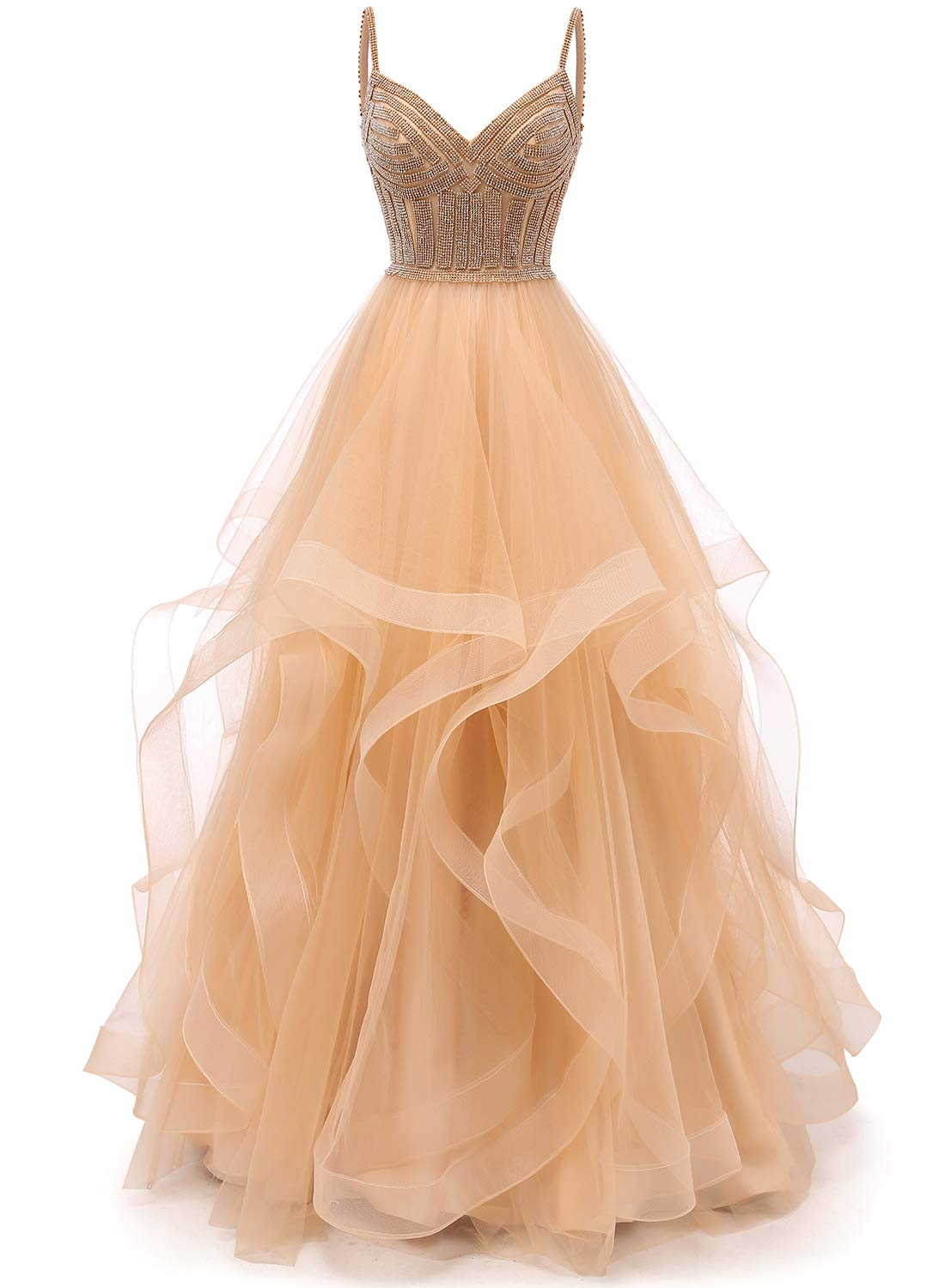 Prom Dresses - Women's Deep V-Neck Prom Dress Long Backless Tulle Evening Gown