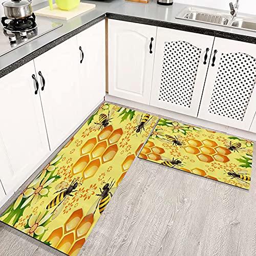 Alfombras Cocina Goma Alfombra de Baño Ducha 2PCS Animales de Granja Flores Abejas y Nido de Abeja alfombras de Cocina Antideslizantes Lavables
