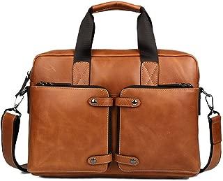 DNSJB Laptop Real Cowhide Leather Briefcase Bag 14 Inch Messenger Shoulder Satchel Casual Tote Crossbody Handbag Brown