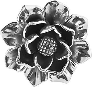 HZJCC Retro Flower Opening Rings for Women Silver-Plated Rings Adjustable Size Jewelry Valentine Gift