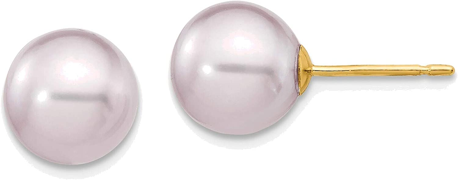 8-9mm Purple Round Freshwater Cultured Pearl Stud Post Earrings in 14K Yellow Gold