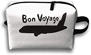 Portable Travel Makeup Bag Zippered Carry Pouch Bon Voyage Txt Airplane -13