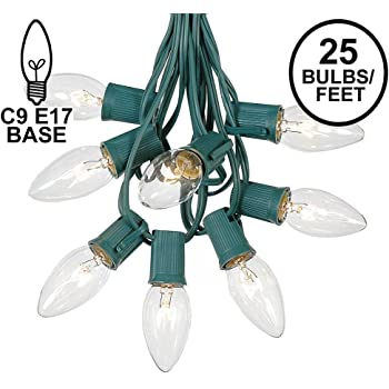 C9 Clear Christmas String Light Set - Outdoor Christmas Light String - Christmas Tree Lights - Hanging Christmas Lights - Roofline Light String - Outdoor Patio String Lights - Green Wire - 25 Foot