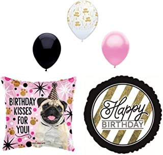 5 pc Birthday Kisses Dog Puppy Party Balloons Decoration Supplies Pug
