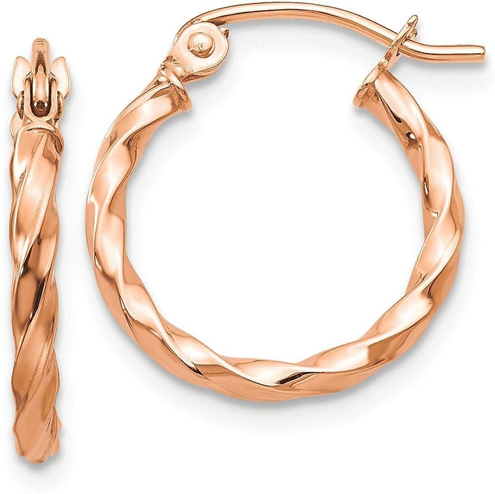 Solid 14k Rose Gold Twisted Hoop Earrings (2mm x 16mm)
