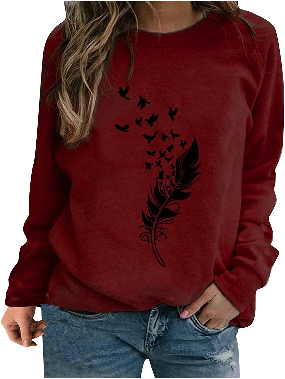 HCNTES Graphic Sweatshirts for Women,Women's Feather Graphic Sweatshirts Casual Pullover Hoodies Long Sleeve Shirts
