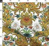 Damast, Papagei, Rokoko, Verschnörkelt, Gold, Blumen