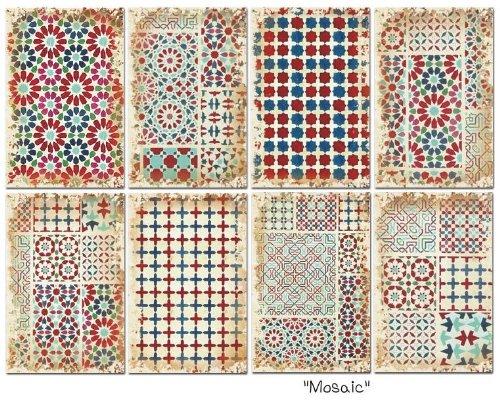 Paper Moon - Scrapbooking carta di lusso 10.5cm x 7cm x 8 fogli - Mosaici