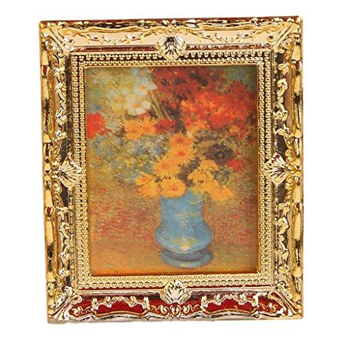 TOOGOO 1:12 Or Cadre en plastique Fleurs peintres a l'huile miniature maison de poupee Meubles