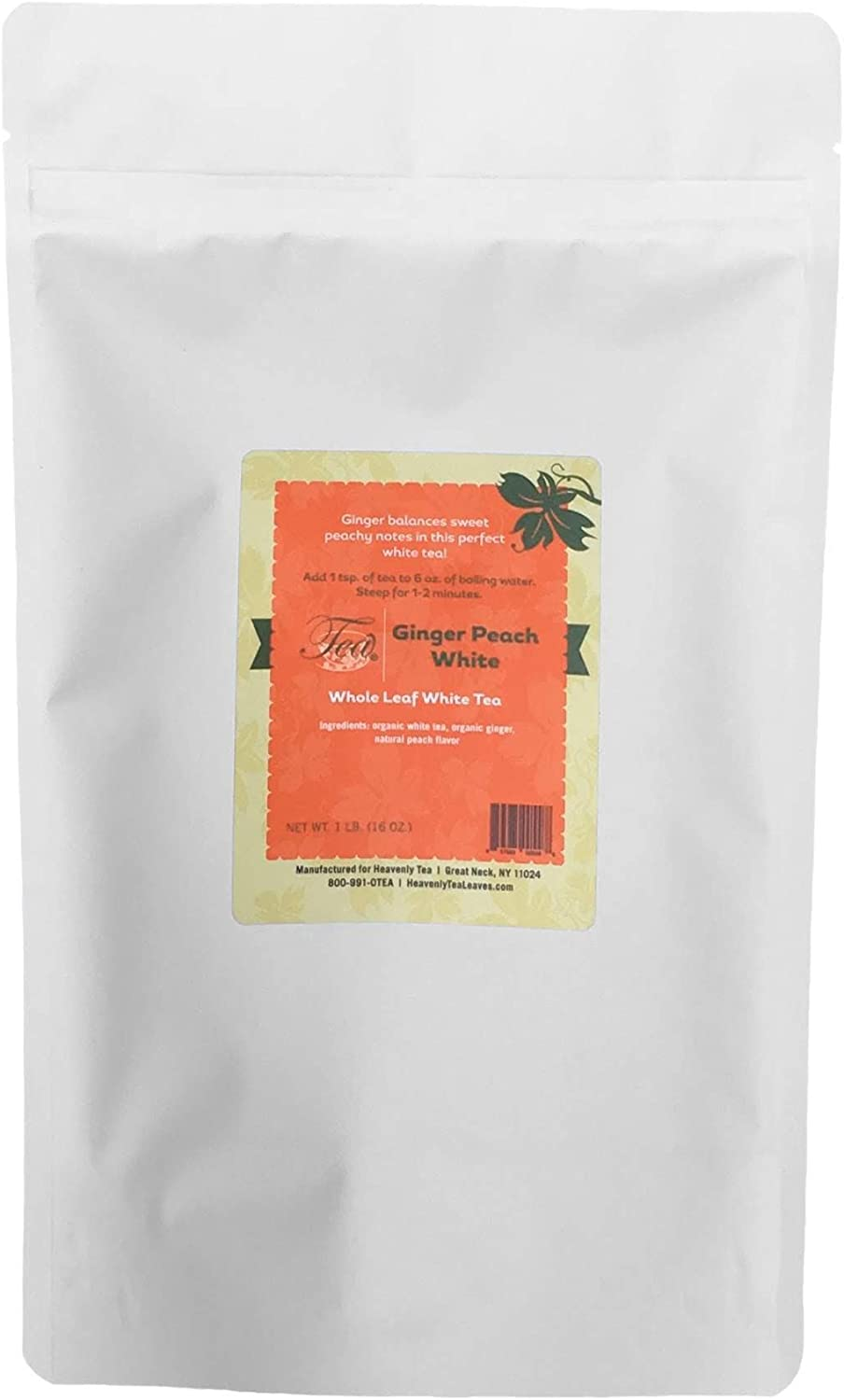Heavenly Tea Leaves Ginger Peach White Tea, Bulk Loose Leaf Tea, 1 Lb. Resealable Pouch